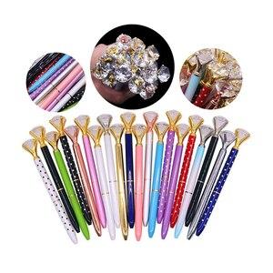 Image 5 - 40 pcs Metal Crystal Pen Diamond Wafer Ballpoint Pen 0.7mm Blue Writing Pen Student School Gift Ball Pen Like Beauty