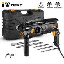 Deko dkrh26h2 multifuncional martelo rotativo com bmc & 6 pçs acessórios de demolição elétrica martelo impacto furadeira ferramentas elétricas