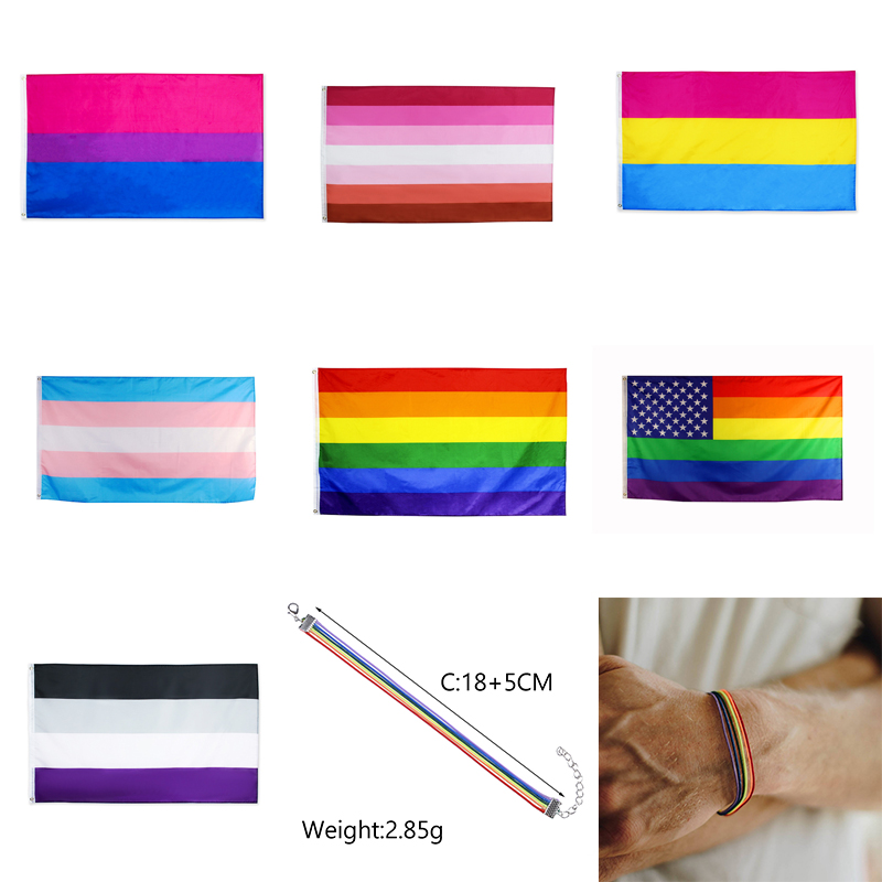 <font><b>Asexual</b></font> <font><b>Pride</b></font> Flag Banner Grommets Transgender Bisexual Pansexual Gay Lesbian Rainbow Flag 90cm x 150cm image