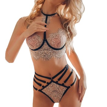 2020 New Women Sexy Lace Embroidery Lingerie Set Halter Bra Hollow Thong Set Sleepwear Mujer Exotic Apparel set D lace sheer lingerie thong bra set