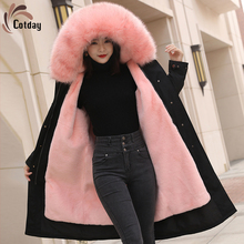 Coat Raccoon Parka Fur Dog-Fur-Collar Black Long Winter Women's Casual Zipper with Thick
