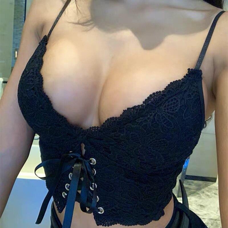 XIBANI Sexy dentelle sangle dos nu court femmes haut court discothèque solide noir à lacets été plage Boho femmes Camis débardeur