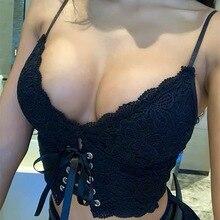 Xibani top cropped sensual feminino, top curto de renda sem costas com cadarço preto liso para noite clube praia verão regata superior
