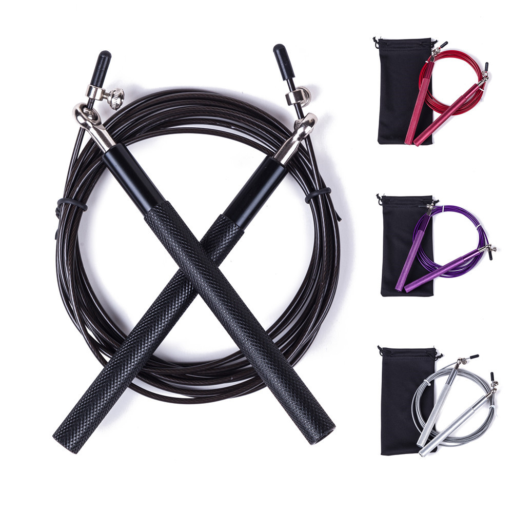 Free Pouch 3 Meters METAL BEARING And Handle!! Skipping Rope / Speed Cable Jump Rope Crossfit MMA Box Home Gym / NPFL