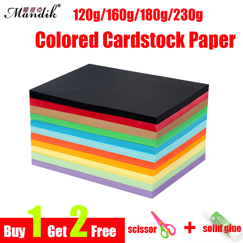 120g 160g 180g 230g Colored Card Paper Stationary Cardboard Craft Kid DIY A4 Cardstock Paper