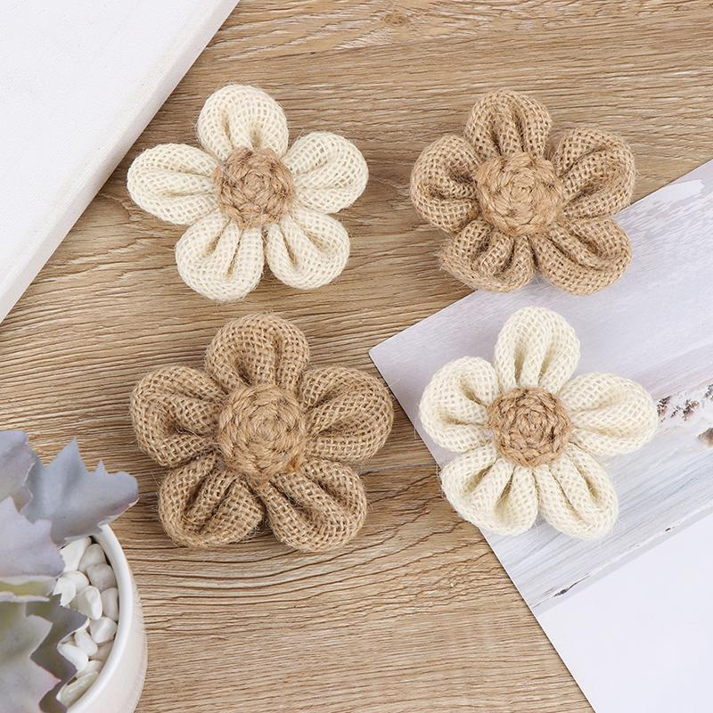 5pcs Hessian Roses Burlap Flower Wedding Decor DIY Gift Packing Accessories Rustic Wedding Party Decor 5BB5785