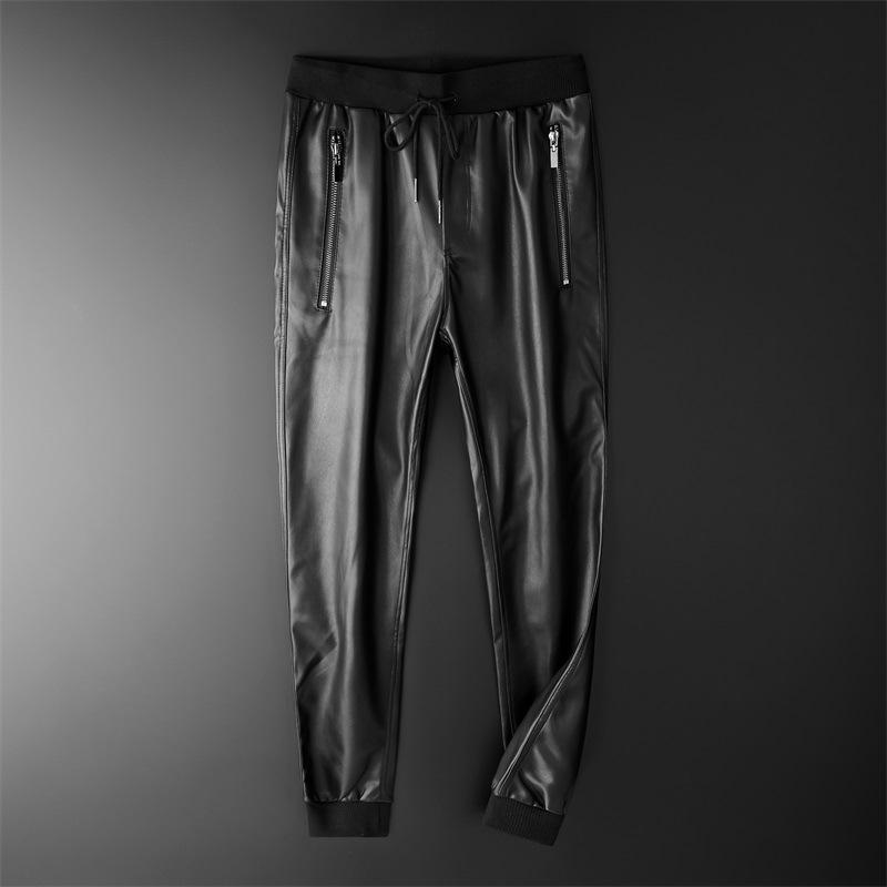 Thoshine Brand Men Leather Pants Superior Quality Elastic Waist Jogger Pants Zipper Pockets Male Faux Leather Trousers Slim Fit