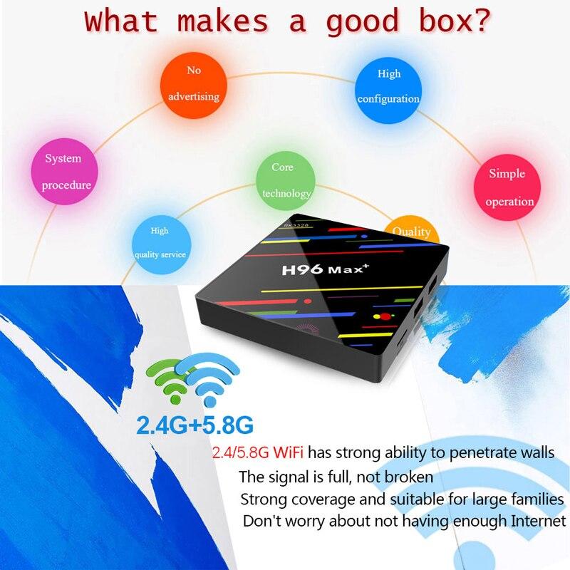 Android IPTV Frankreich box H96Max Plus RK3328 mit QHDTV abonnement 1 Jahr code 2.4/5,8G wifi IPTV Arabisch marokko Deutschland IP TV