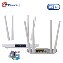 TIANJIE 3G 4G WIFI Sim Card Modem Router 2 RJ45 Port Quad External Antenna 32 Users 300Mbps CPE