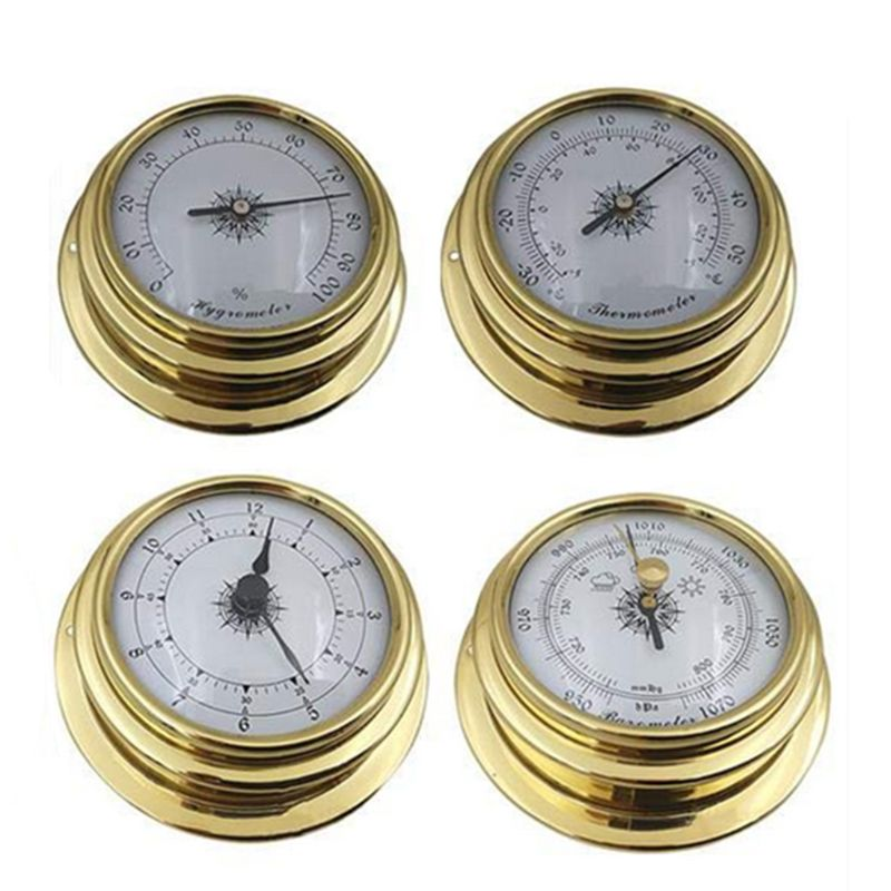 4 Inches Thermometer Hygrometer Barometer Watches Clock Copper 