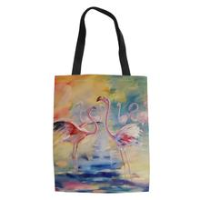 HaoYun Fashion Women Linen Bags Arts Flamingo Prints Pattern Shopping Bag Cartoon Animal Lady Canvas Girls Handbags