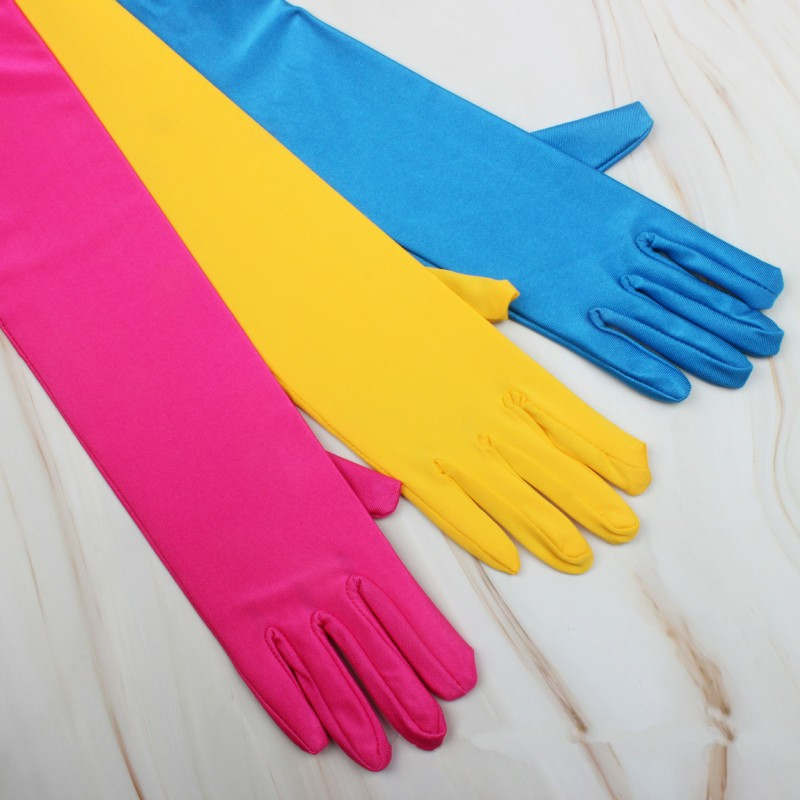Sale Cheap Girls Yellow Dance Party Summer Gloves Full Finger Spandes Pink Glove Blue Long Gloves For Bride Accessories ST234