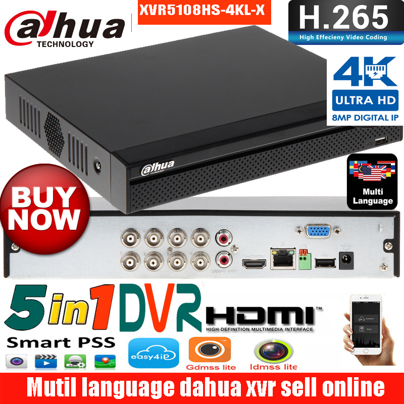 Mutil Language Dahua 16ch DVR XVR5108hs-4KL-X Penta-brid 4K H.265+ Supports HDCVI/AHD/TVI/CVBS/IP Digital Video Recorder