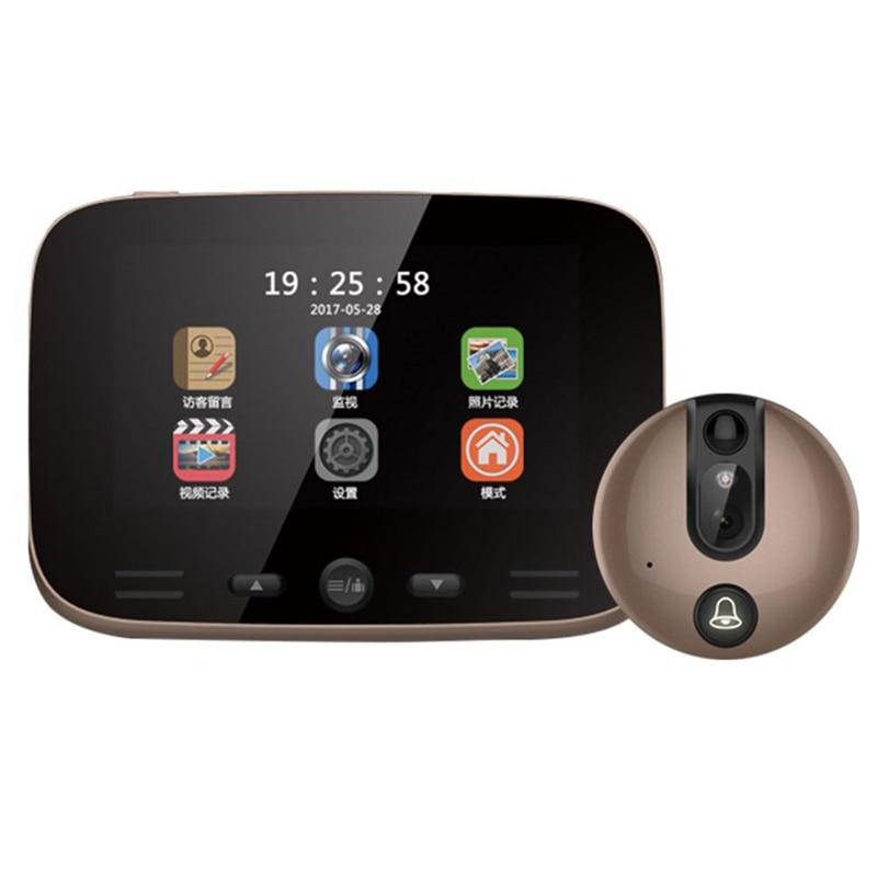 Video Doorbell Camera 4.3 Inch Digital Display Door Bell Peephole Viewer Hd Camera 3Mp With Ir Motion Sensor