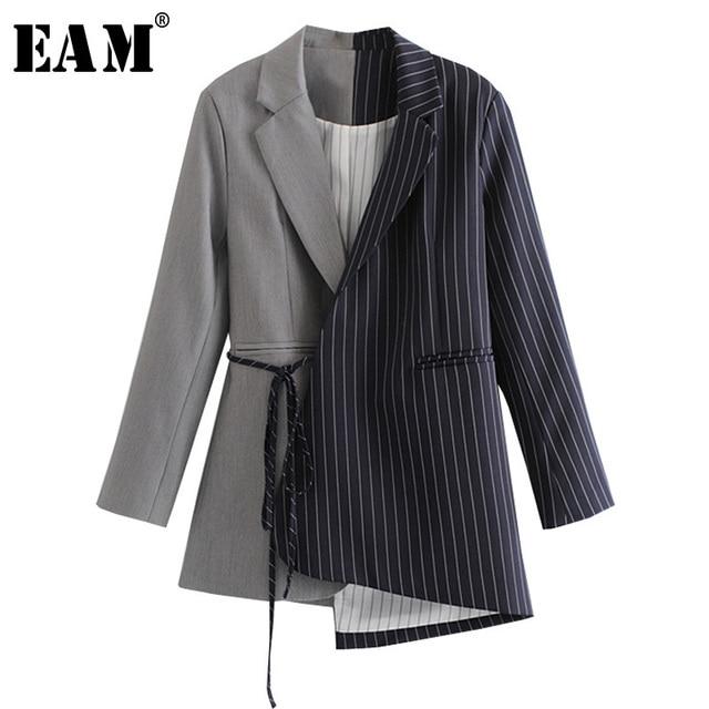 [Eam] ルーズフィット黒ストライプスプリットジョイント包帯ジャケット新ラペル長袖女性のコートのファッション潮春秋2020 JZ065