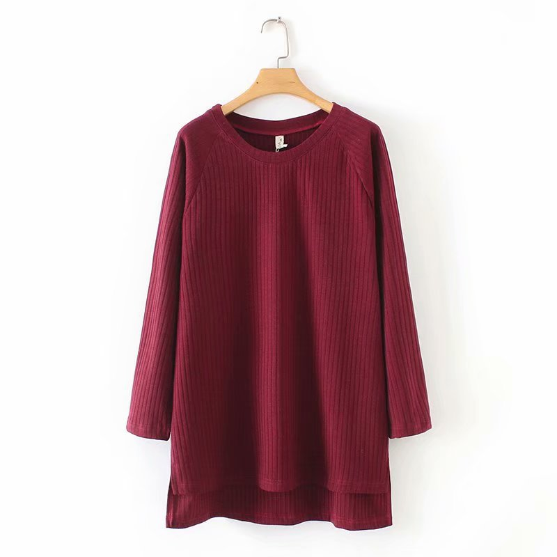 B1 Large Size Dress 2019 Spring Clothing New Style Fat Mm Loose-Fit Mid-length Slimming Base Shirt T-shirt 18027