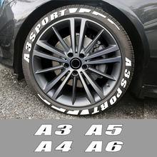 3D permanente de cartas coche pegatinas de neumáticos para Audi A3 8P S3 8V A4 B8 B6 A6 C6 C5 C7 A1 A2 A5 A7 A8 deporte accesorios del coche