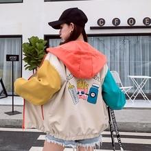 Milinsus Women Fashion Jacket Harajuku Hooded Hamburg Printing Coats Cute Cartoon Windbreaker Autumn 2019 Coat Outwear