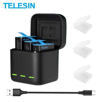 TELESIN بطارية 1750 mAh ل GoPro بطل 9 3 طرق LED ضوء شاحن بطارية TF بطاقة تخزين البطارية ل GoPro بطل 9 أسود بطاريات رقمية    -