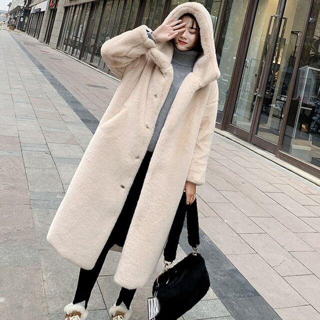 חורף נשים באיכות גבוהה פו ארנב פרווה מעיל יוקרה ארוך פרווה מעיל Loose דש מעיל עבה חם בתוספת גודל נקבה מעילי קטיפה