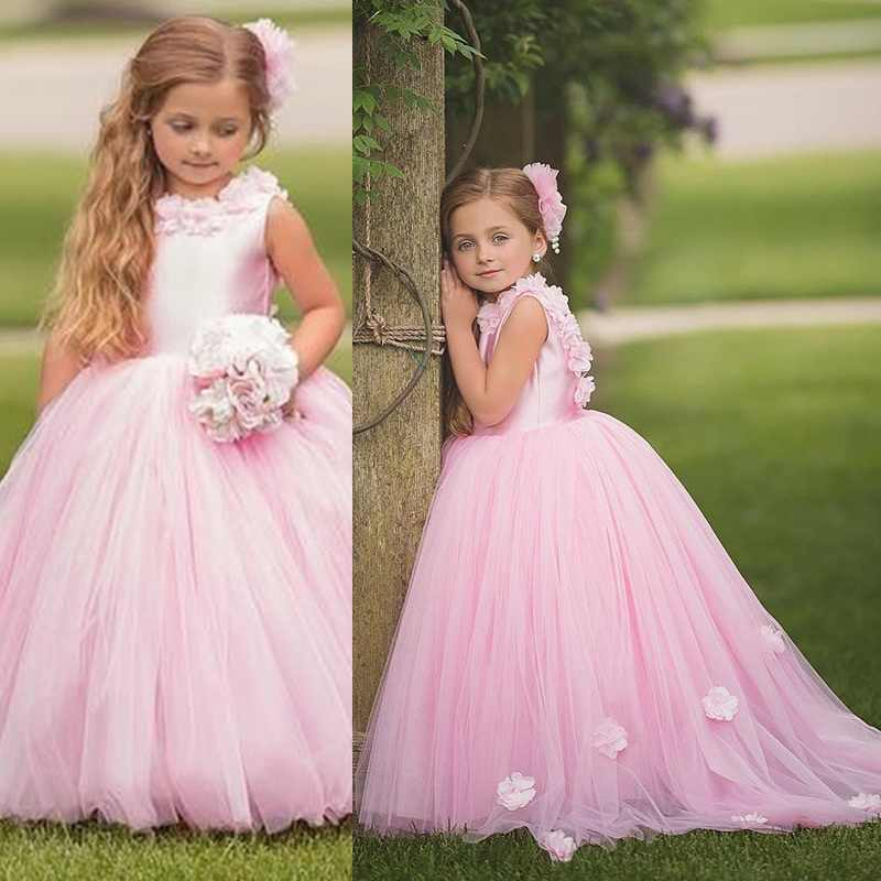 Girls Dresses Wedding Flower Lace Communion Party Prom Princess Pageant Event