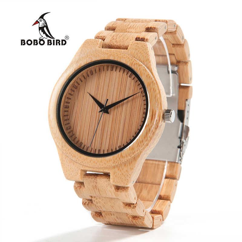 Reloj de negocios para hombre, relojes de pulsera de bambú BOBO BIRD con banda de bambú, reloj de madera para hombres aceptamos triangulación de envíos personalizados C-D19