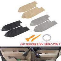 Pair Front Door Handle Panels Armrest Cover Trim Microfiber Leather For Honda CRV 2007 2008 2009 2010 2011