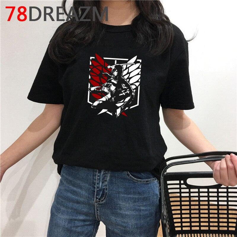 Quente anime japonês ataque em titan t camisa feminina verão topo harajuku camiseta engraçado dos desenhos animados gráficos camisetas estéticas feminino