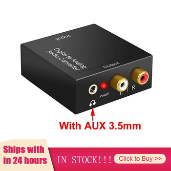 New 3.5mm Optical Digital Stereo Audio Toslink Coaxial Signal To Analog Converter DAC Jack 2*RCA Amplifier Decoder Adapter image