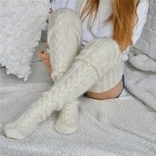 2020 Mode Vrouwen Wollen Kousen Herfst Winter Casual Warm Pluizige Over Keen Sokken Been Warmer Effen Kleur