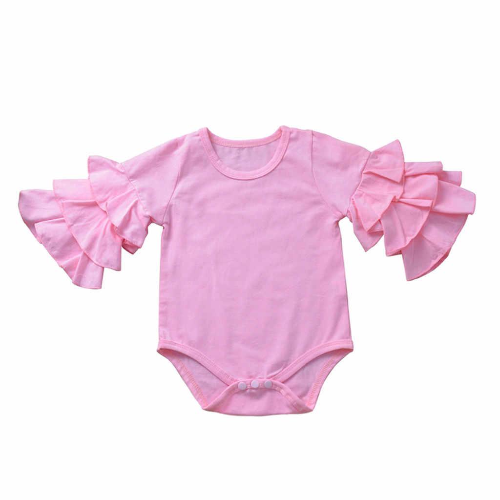 Pasgeboren Baby Meisjes Bodysuits Baby Body Kleding Baby Meisjes Uitlopende Lange Mouwen Effen Baby Jumpsuit Baby Baby Girl Onesie