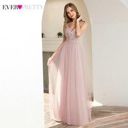 Illsuion розовые вечерние платья Ever Pretty EP00787 с аппликацией, ТРАПЕЦИЕВИДНОЕ ПЛАТЬЕ С v-образным вырезом, без рукавов, тюлевые элегантные вечерние ...