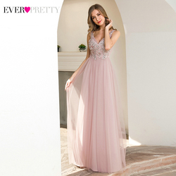 Illsuion Pink Evening Dresses Ever Pretty EP00787 Appliques A-Line V-Neck Sleeveless Tulle Elegant Formal Gowns Vestido Noite
