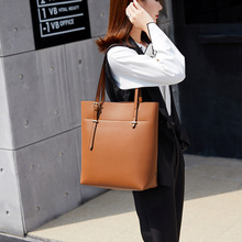 2020 New Style WOMEN'S Bag Large Capacity Solid Color Women's Tote Bag Europe And America-Style Retro Shoulder Bag Handbag punk style solid color and rivets design women s shoulder bag