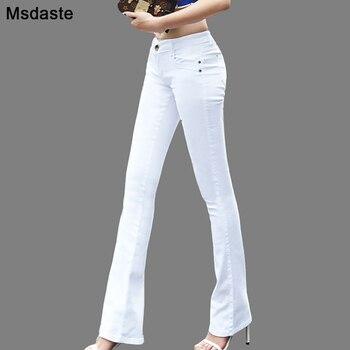 Femmes Jeans 2019 couleur bonbon moulante femme Denim pantalon vêtements de travail taille haute Slim élastique dames Flare pantalon pantalone femme