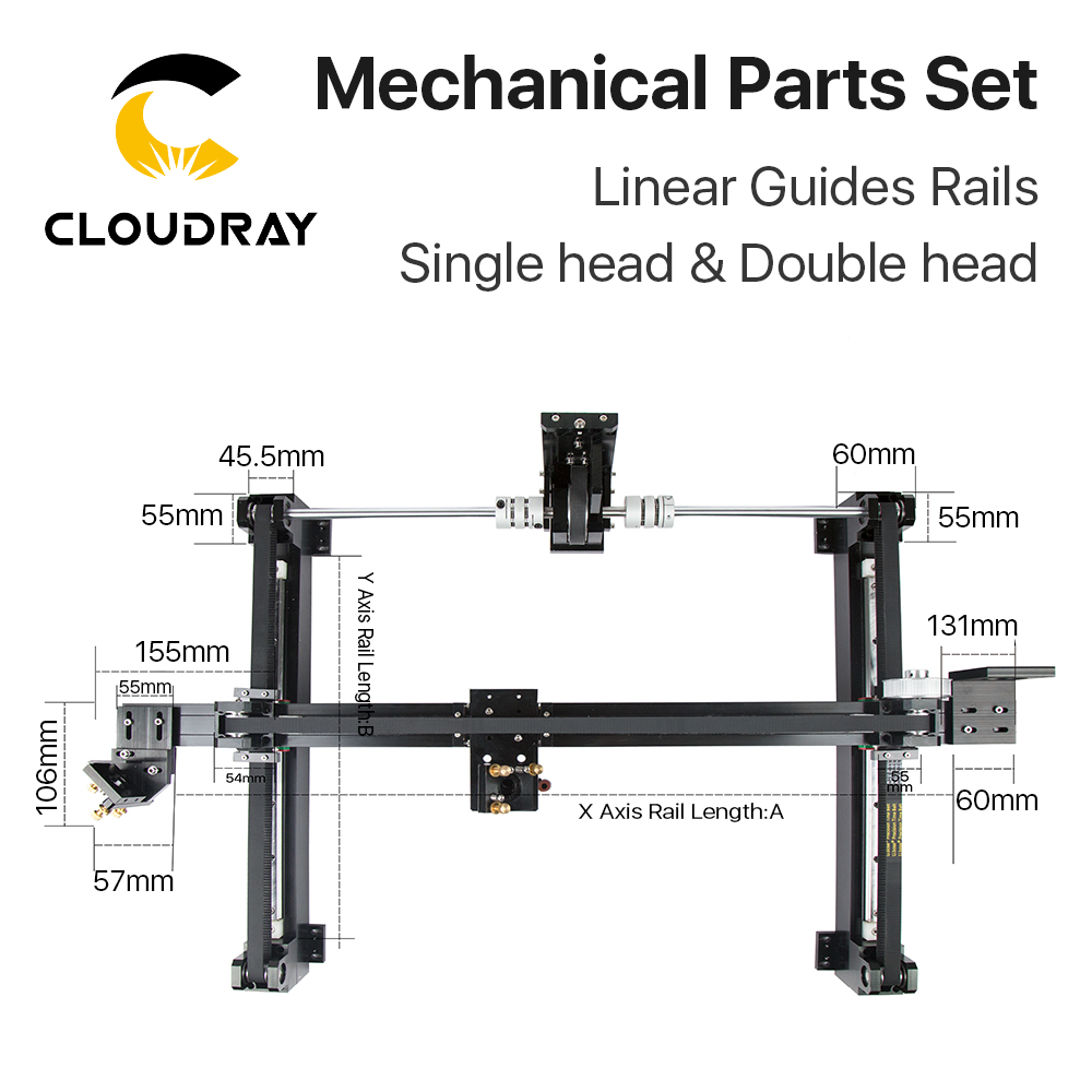 Image 5 - Cloudray Mechanical Parts Set 1300mm*900mm Single Double Head Laser Kits Spare Parts for DIY CO2 Laser 1390 CO2 Laser Machineparts machineparts forparts kit -