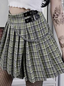 Women's Skirt Chain Plaid Streetwear Y2K E-Girl Goth Dark High-Waist Mini Summer Patchwork