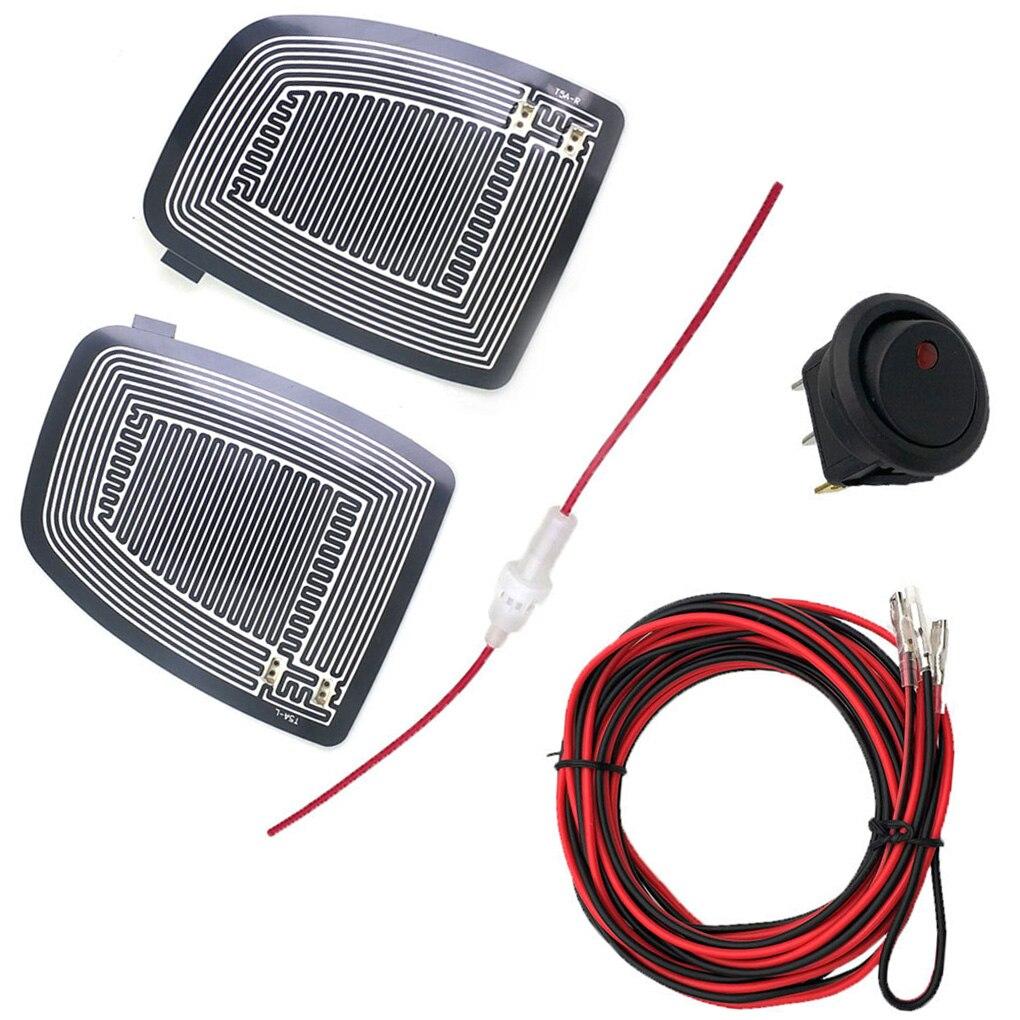 2PCS Fahrzeug Glas Rückspiegel Erhitzt Pad Defoggers Auto Zubehör Seite Spiegel Entfernen Eis Regen DC 12V