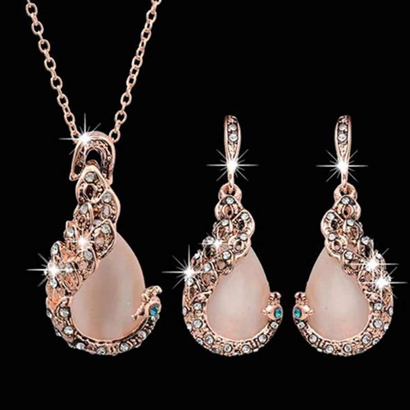 3pcs/set Jewelry Sets Women Elegant Waterdrop Rhinestone Pendant Necklace Hook Earrings Jewelry Set