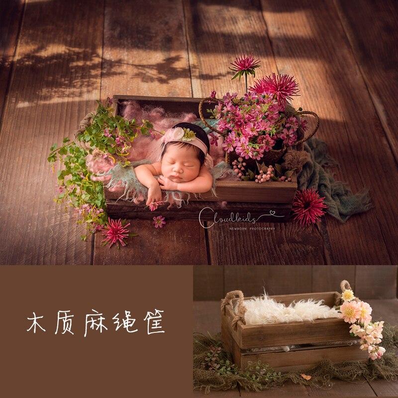 Neonate Photograph Prop Woodiness Hemp Rope Basket Baby 100 Days Photograph Baby Photograph Container