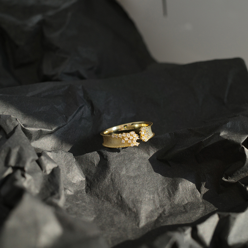 Женское кольцо с микро закрепкой mengjiqiao корейские открытые