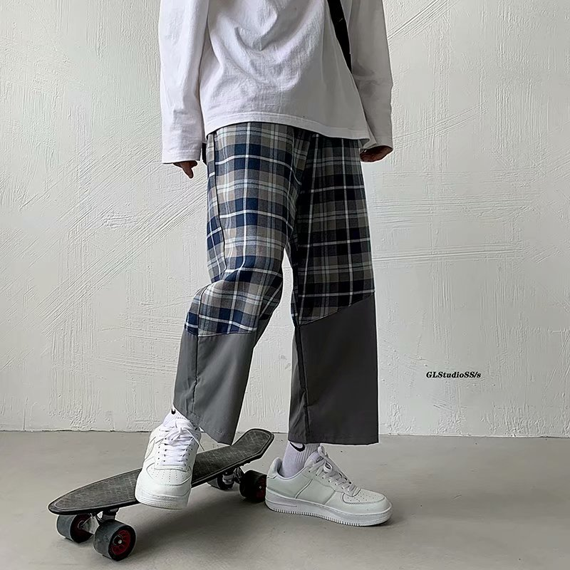 Stitching plaid casual pants straight loose Korean style trendy wide-leg cropped trousers summer hip-hop tide brand pants