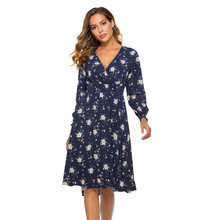 Casual Floral Printed Homecoming Dresses A-Line V-Neck Ruched Long Sleeve Knee-Length Simple Chiffon Graduation Dresses Vestido women ruffle layered v neck dresses casual high waist flare sleeve a line dress 2019 summer fashion vintage printed dresses