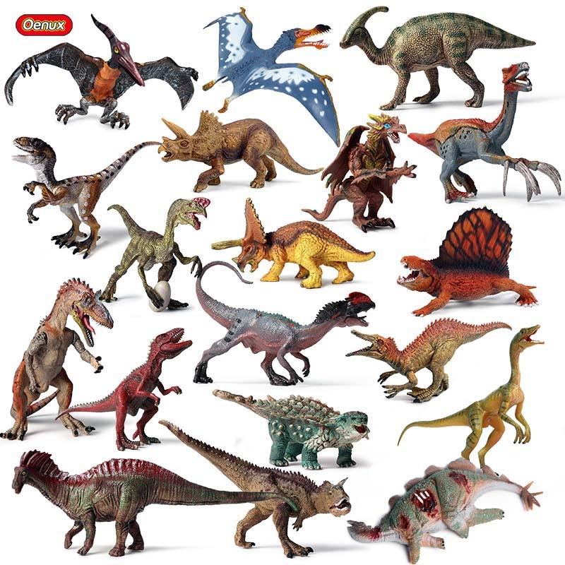 Oenux Prehistoric Savage Jurassic Dinosaurs Figurines T-Rex Pterodactyl Velociraptor Model Action Figures Collection Kids Toy