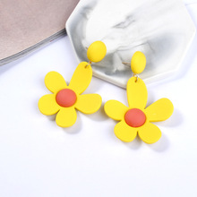 Contrast Color Flower Earrings Exaggerated Korea Sweet Ins Fluorescent Small Fresh Accessories