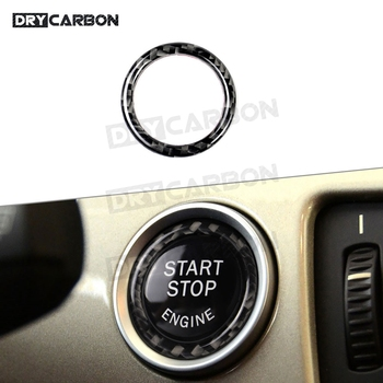 Carbon Fiber Car Engine Start Stop Ignition Button Ring Trim Frame Moulding Cover For BMW 3 Series E90 E92 E93 E89 Z4 2009-2012 image