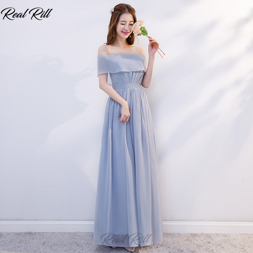 Real Rill Strapless Bridesmaid Dresses Lace Up Back Floor Length Chiffon Wedding Guest Dress For Wedding Party Vestidos De Festa