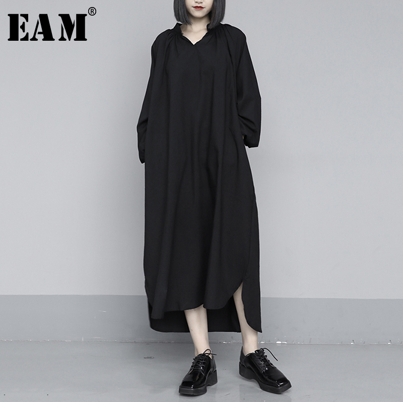 [EAM] Women Black Brief Long Big Size Temperament Dress New V-Neck Long Sleeve Loose Fit Fashion Tide Spring Autumn 2020 1S403