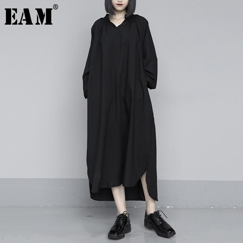 [EAM] Women Black Brief Long Big Size Temperament Dress New V-Neck Long Sleeve Loose Fit Fashion Tide Spring Autumn 2020 1S403