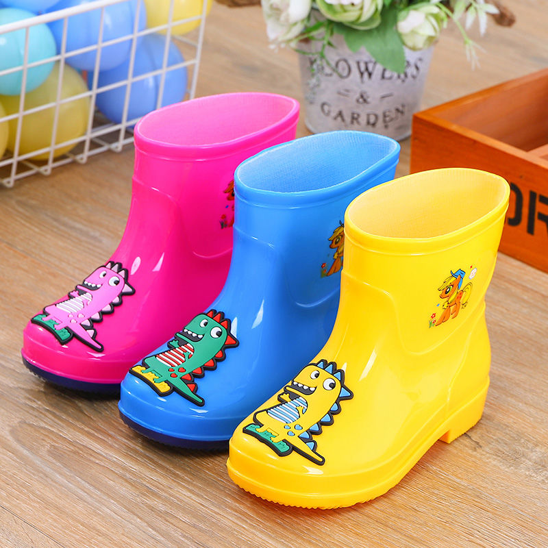 Children's Wellies Dinosaur Boots Boy Rain Shoes Winer Snow Boots Animal Design Toddler Girl Rain Boots With Removable Liner